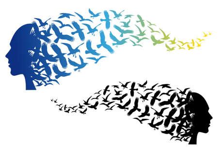 palomas volando: espíritu libre, cabeza con los pájaros que vuelan de colores, ilustración vectorial Vectores