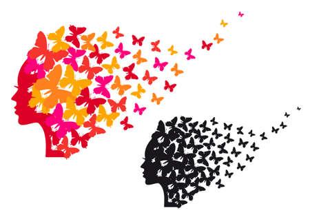 mariposas amarillas: cabeza de mujer con coloridas mariposas, ilustraci�n vectorial
