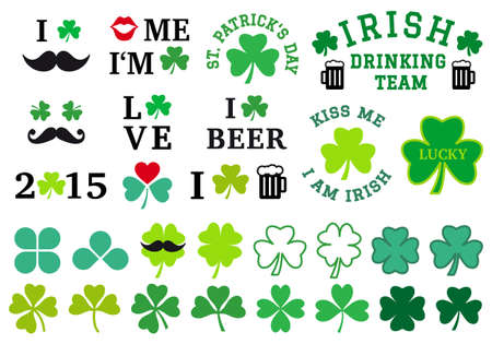 St Patricks day, clovers, set of vector graphic design elements Vector