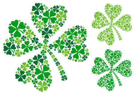 four leaved: four leaf clover, lucky clover for St. Patricks day, vector illustration Illustration