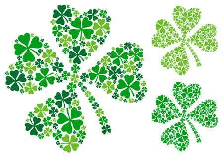 cuatro elementos: trébol de cuatro hojas, trébol de la suerte para el día, ilustración vectorial de San Patricio