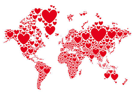 Love, world map with red hearts, vector background