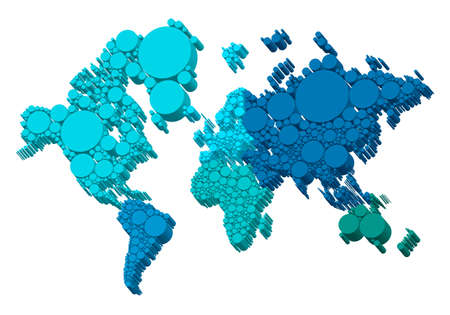 3D world map with dots, vector background Vector