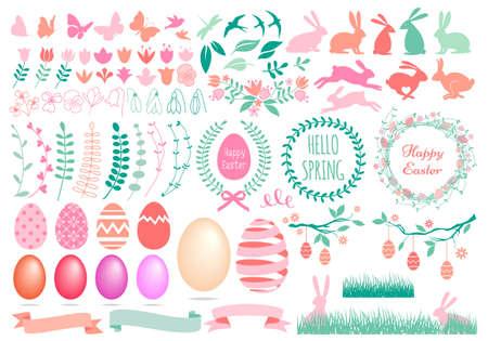 Happy Easter, huge set of vector design elements