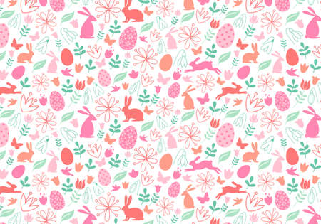 Seamless Easter pattern with bunnies