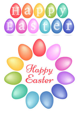 vector eggs: Happy Easter, colorful Easter eggs, set of vector design elements