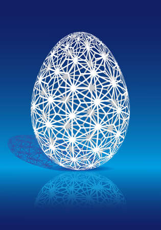 White Easter egg with geometric 3D pattern, vector Vector