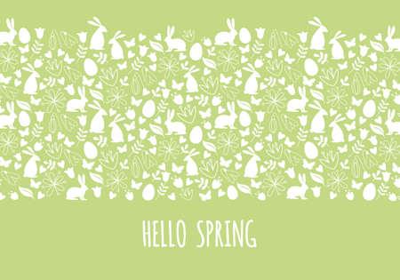 Hallo lente, Pasen banner met naadloze patroon, vector