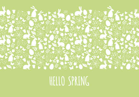 Hello spring, Easter banner with seamless pattern, vector
