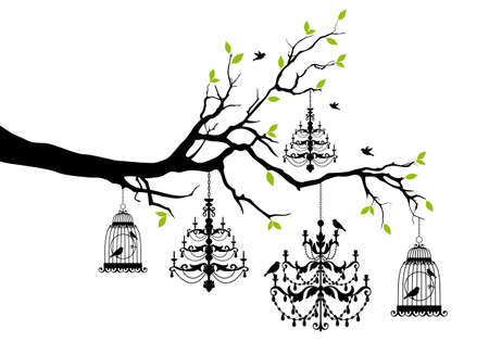 tree branch with chandeliers and birdcages and birds, vector illustration