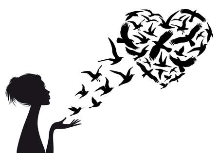 ハート形の飛んでいる鳥を女性のシルエット、ベクトル イラスト