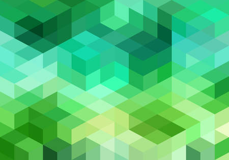 abstract green blue geometric vector background, cube pattern