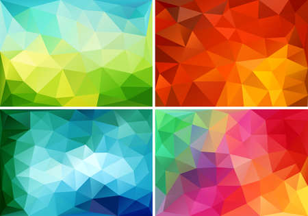 abstract colorful low poly backgrounds, set of vector design elements