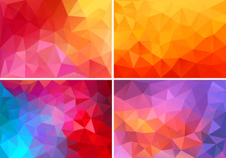 low: abstract red,orange,pink low poly backgrounds, set of vector design elements