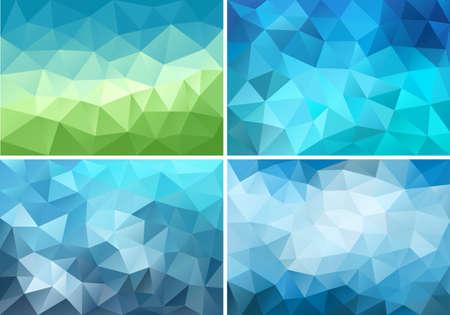 抽象的な青と緑の低ポリの背景、ベクトルのデザイン要素の設定  イラスト・ベクター素材