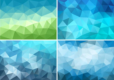 abstract blue and green low poly backgrounds, set of vector design elements