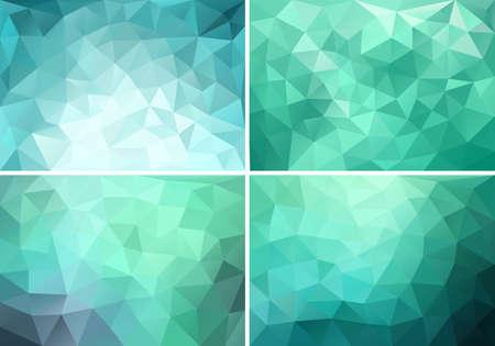 アクアマリン: 抽象的なブルー、グリーン、ティール低ポリの背景、ベクトル デザイン要素の設定  イラスト・ベクター素材