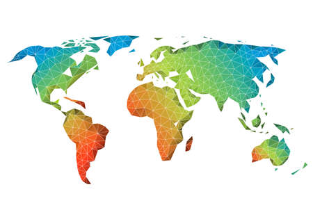 Abstract low poly world map with colorful geometric pattern, vector  イラスト・ベクター素材