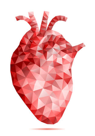abstract low poly human heart with geometric pattern, vector