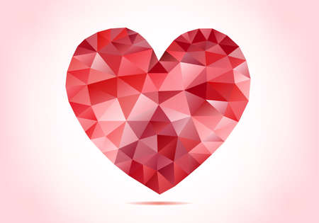 heart diamond: abstract red low poly heart with geometric pattern, vector