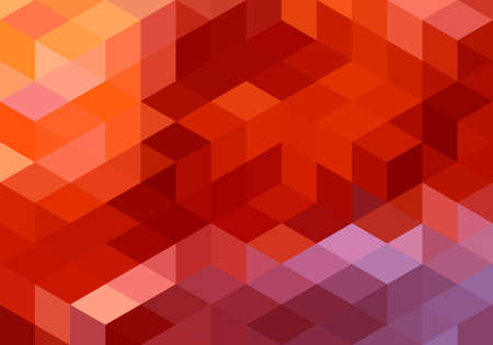 abstract red orange geometric vector background, cube pattern  イラスト・ベクター素材