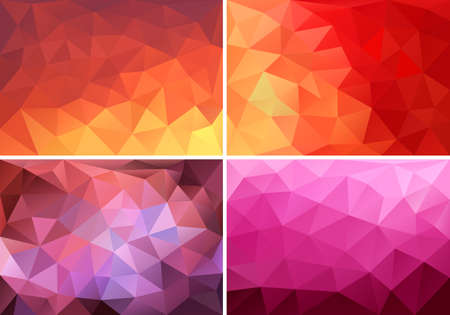 abstract red, orange and pink low poly backgrounds, set of vector design elements