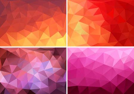 abstrakt rot, orange und pink Low-Poly-Hintergründe, Satz von Vektor-Design-Elemente Illustration