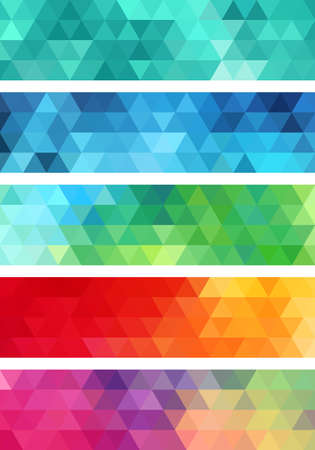 teal: abstract geometric banner, set of vector design elements