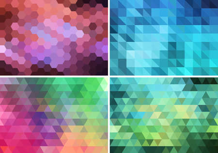 abstract geometric backgrounds with polygon pattern, set of vector design elements