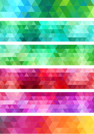 abstract colorful geometric banner, set of vector design elements