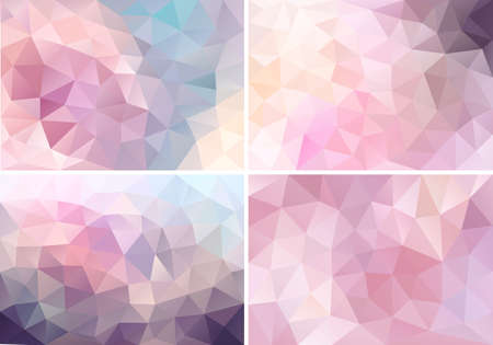 abstract pastel pink low poly backgrounds, set of vector design elements Vettoriali