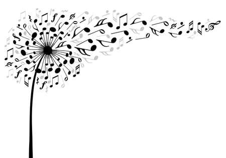 voador: música flor dente de leão com voo de notas musicais, ilustração vetorial