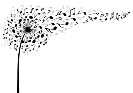 musical notes background: music dandelion flower with flying musical notes, vector illustration