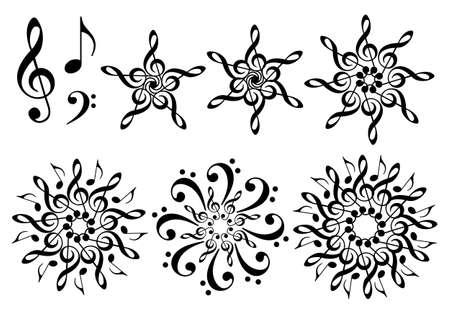 dibujo: flores de la música con clave de sol y notas musicales, conjunto de elementos de diseño vectorial