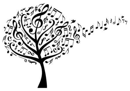nota musical: árbol de la música con los clefs agudos y vuelan las notas musicales, ilustración vectorial