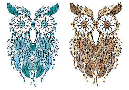 dream: 追夢貓頭鷹,手工繪製矢量插圖 向量圖像