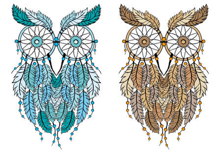 hippie: dreamcatcher owl, hand-drawn vector illustration