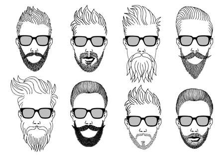 black male: hipster faces with beard and mustache, hand-drawn illustration, vector set
