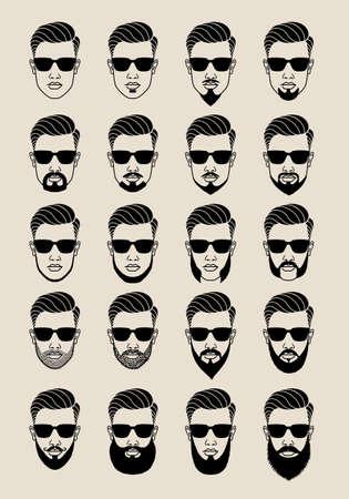 sonnenbrille: junge männliche Gesicht mit hipster Bärte und Schnurrbart, bärtig Anwender-Symbole, avatar, Vektor-Set Illustration