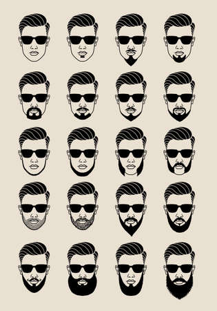 sideburn: young male face with hipster beards and mustache, bearded user icons, avatar, vector set