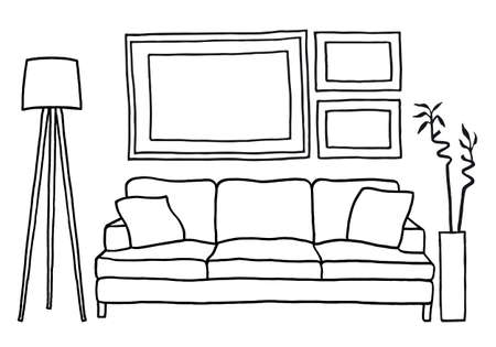 modern living room: living room with couch and blank picture frames, vector mockup illustration Illustration