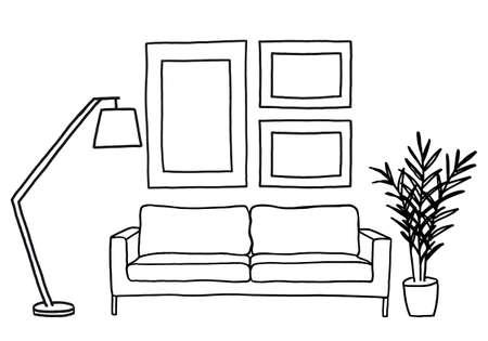 handgetekende woonkamer met een bank en blanco foto frames, vector mockup illustratie