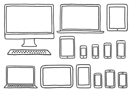 ups: hand-drawn devices, blank mock ups, templates for screenshots, set of vector design elements
