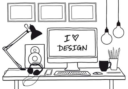 screenshot: hand-drawn studio mock up with computer, music and coffee, vector illustration Illustration