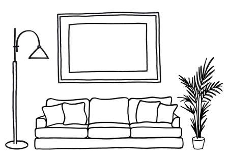 living room interior with blank picture frame, hand-drawn mock-up, vector illustration Stock Illustratie