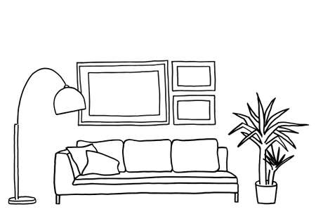 lounge room: living room interior with blank picture frames, hand-drawn mock-up, vector illustration Illustration
