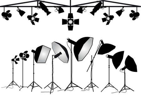 Photo studio lighting equipment, set of vector design elements Vettoriali