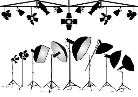 spotlight white background: Photo studio lighting equipment, set of vector design elements Illustration