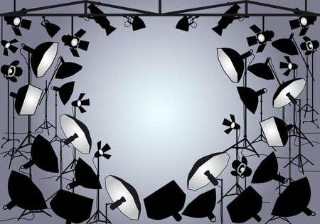 lighting background: Photo studio with lighting equipment, vector background