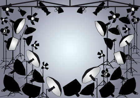 Photo studio with lighting equipment, vector background